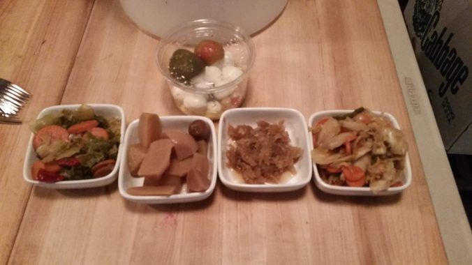 A rather blurry picture of some of our fermented vegetables, ranging between six months to two years old.